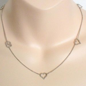 Gucci Sterling Silver Trademark Gg  Heart Necklace